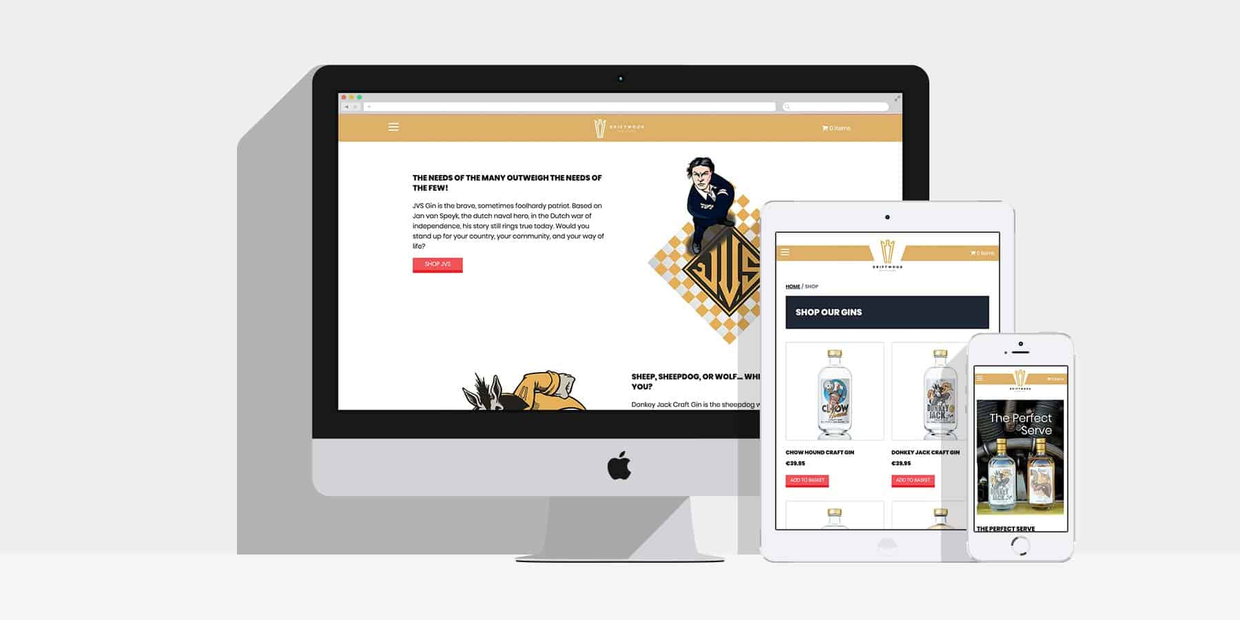 Example of Driftwood website on desktop, phone and tablet Driftwood Distillery Web Design in Manchester by Factory